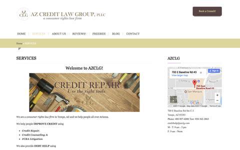 Screenshot of Services Page azclg.com - Services : Debt and Credit Help | AZ Credit Law Group, PLLC - captured Nov. 22, 2017