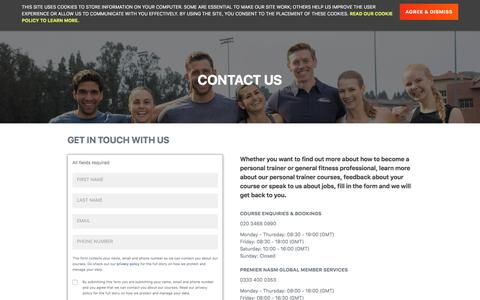 Screenshot of Contact Page premierglobal.co.uk - Get in Touch with Us | Premier Global | NASM - captured Nov. 4, 2019