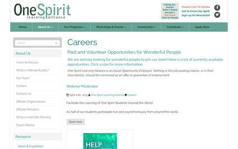 Screenshot of Jobs Page onespiritinterfaith.org - Careers - New York, globally over webinars | One Spirit Learning Alliance - captured July 5, 2017