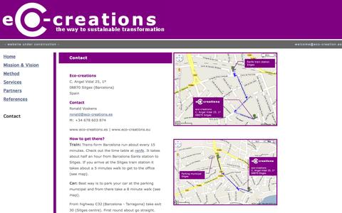 Screenshot of Contact Page eco-creations.es - contact - captured Sept. 29, 2014
