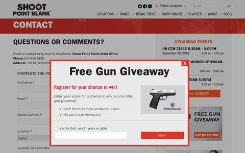 Screenshot of Contact Page shootpointblank.com - Contact | Indoor Shooting Range & Gun Shop - captured Sept. 28, 2018