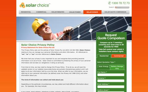 Screenshot of Privacy Page solarchoice.net.au - Privacy Policy - captured Oct. 27, 2017