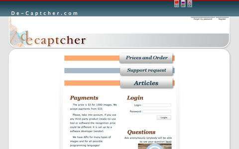 Screenshot of Home Page de-captcher.com - Short text image recognition, OCR, recognition software - captured Sept. 18, 2014