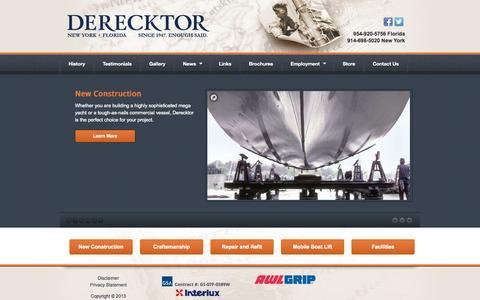 Screenshot of Home Page derecktor.com - Quality Yachts and Commercial Vessels - Derecktor ShipyardsDerecktor Shipyards   Since 1947. Enough Said. - captured Oct. 5, 2014