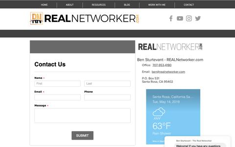 Screenshot of Contact Page realnetworker.com - Contact Ben Sturtevant - captured May 14, 2019