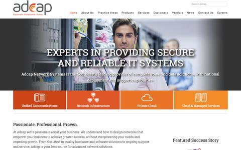 Screenshot of Home Page adcapnet.com - Adcap Network Systems | Cisco Phone Systems | Cisco Servers | Cisco Video | Adcap Network Systems - captured Oct. 4, 2014