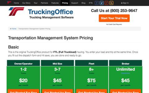 Screenshot of Pricing Page truckingoffice.com - Transportation Management System | Free Fleet Management Software - captured Feb. 27, 2016