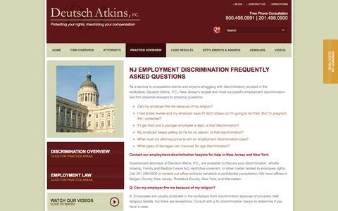 Screenshot of FAQ Page njemployeerights.com - New Jersey Employment Discrimination FAQ - Deutsch Atkins, P.C. - captured Oct. 5, 2014