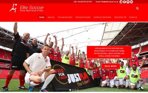 Screenshot of Home Page elite-soccer.co.uk - Elite Soccer – UK Soccer Coaching and Training - captured July 29, 2017