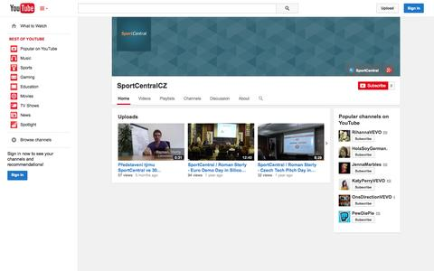 Screenshot of YouTube Page youtube.com - SportCentralCZ  - YouTube - captured Nov. 5, 2014