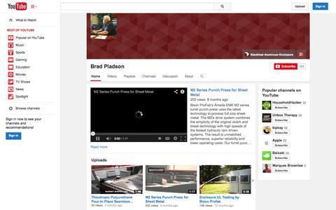 Screenshot of YouTube Page youtube.com - Brad Pladson  - YouTube - captured Oct. 23, 2014