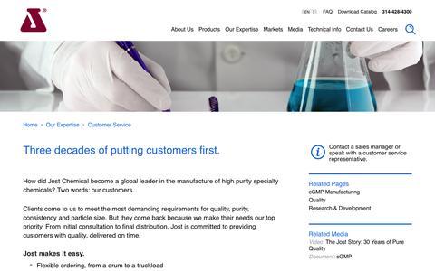 Screenshot of Support Page jostchemical.com - Customer Service - captured Nov. 27, 2016