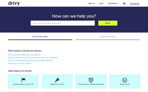 Screenshot of FAQ Page drivy.com - How can we help you? - Drivy - captured Aug. 4, 2017
