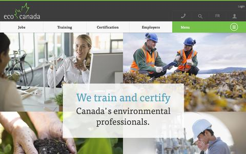 Screenshot of Home Page eco.ca - ECO Canada - Environmental Careers Organization Canada - captured Jan. 15, 2015