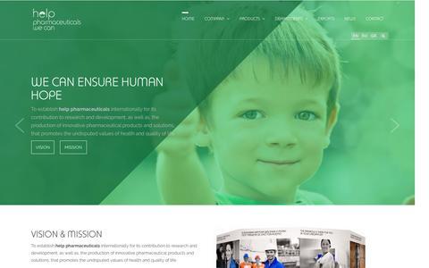 Screenshot of Home Page help.com.gr - Home - help pharmaceuticals - captured Jan. 28, 2016