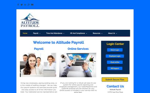 Screenshot of Home Page altitudepayroll.com - Altitude Payroll - Home - captured Sept. 10, 2015