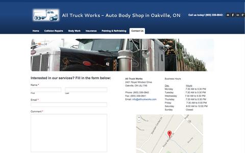 Screenshot of Contact Page alltruckworks.com - Contact Us - All Truck Works - Auto Body Shop in Oakville, ON - captured Sept. 30, 2014