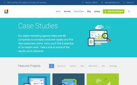 Screenshot of Case Studies Page bdayah.com - Case Studies | Bdayah - captured March 1, 2016