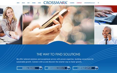 Screenshot of Contact Page crossmark.com - ENGAGE - CROSSMARK - captured Dec. 4, 2015