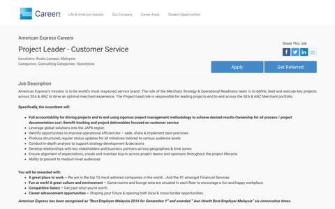 Screenshot of Jobs Page americanexpress.com - Apply For American Express Project Leader - Customer Service job - Consulting, Operations - Kuala Lumpur, Malaysia - captured Oct. 26, 2016