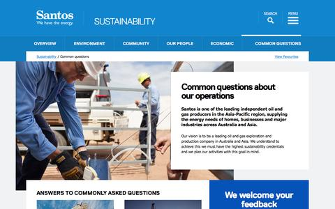 Screenshot of FAQ Page santos.com - Santos - We have the energy - Common Questions - captured Feb. 2, 2016