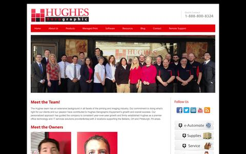 Screenshot of Team Page hughesteam.net - Management | Hughes | Bellaire OH | Pittsburgh PA | Hughes Xerographic | Copiers | Printers | Xerox Agency | Bellaire, Ohio | Pittsburgh, PA - captured Oct. 3, 2014