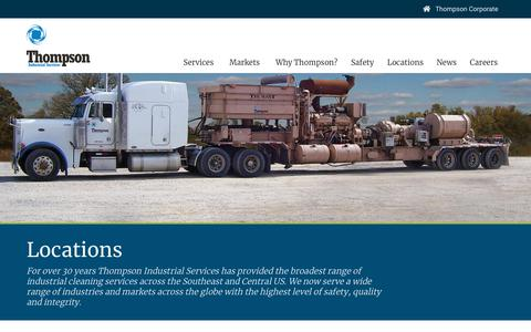 Screenshot of Contact Page Locations Page thompsonindustrialservices.com - Locations | Thompson Industrial Services | Industrial Services - captured Oct. 21, 2018