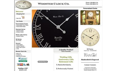 Screenshot of Home Page woosterclock.com - Personalized Wall Clocks from Wooster Clock Company - captured June 15, 2016