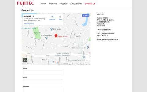 Screenshot of Contact Page fujitec.uk.com - Contact Us - Fujitec UK Ltd - captured Oct. 11, 2018