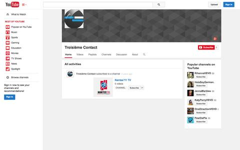 Screenshot of YouTube Page youtube.com - Troisième Contact  - YouTube - captured Nov. 5, 2014