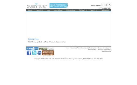 Screenshot of Press Page americanstandard-us.com - Pressroom  |  Safety Tubs - captured Oct. 1, 2018
