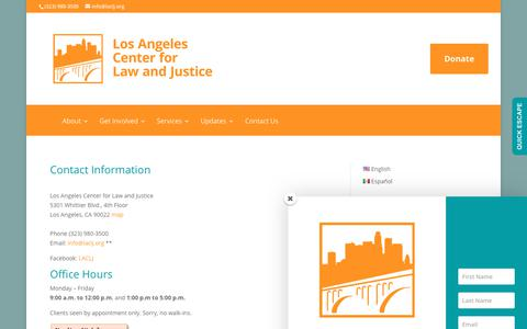 Screenshot of Contact Page laclj.org - Contact Information | Los Angeles Center for Law and Justice - captured Sept. 9, 2017