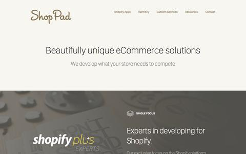 Screenshot of Services Page theshoppad.com - Shopify Development Services | ShopPad - captured June 21, 2017