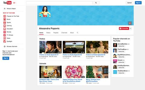 Screenshot of YouTube Page youtube.com - Alexandra Popovic  - YouTube - captured Oct. 22, 2014