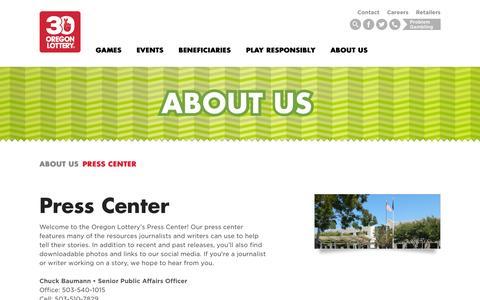 Screenshot of Press Page oregonlottery.org - Press Center - Oregon Lottery - captured Sept. 24, 2015