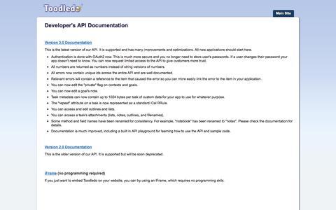 Screenshot of Developers Page toodledo.com - Toodledo : API : Developer's API Documentation - captured Oct. 29, 2014