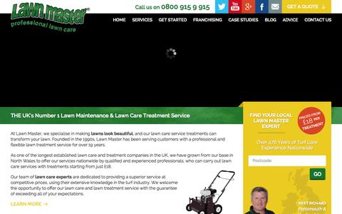 Screenshot of Home Page lawnmaster.co.uk - Lawn Care, Maintenance & Lawn Treatment Services - captured July 19, 2015