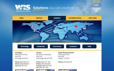 Screenshot of Locations Page wisintl.com - Locations - WIS - captured Dec. 22, 2016