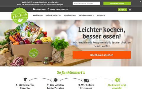 Screenshot of Home Page hellofresh.de - Jetzt leckere HelloFresh Kochbox bestellen | HelloFresh - captured Jan. 19, 2015