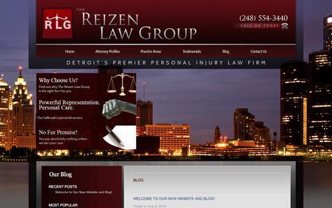 Screenshot of Blog reizenlaw.com - Blog | Detroit Injury Attorney - captured Feb. 15, 2016