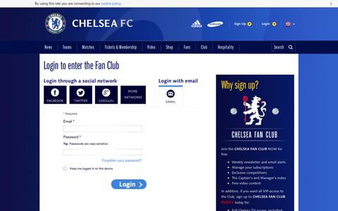 Screenshot of Login Page chelseafc.com - Fan Club Login - captured Sept. 18, 2014