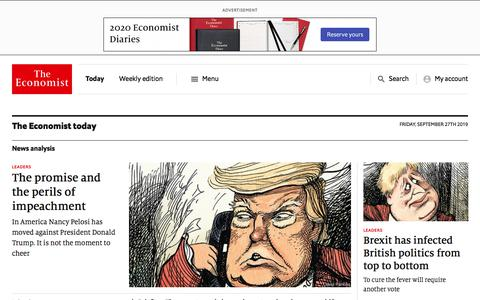 Screenshot of Home Page economist.com - The Economist - World News, Politics, Economics, Business & Finance - captured Sept. 27, 2019