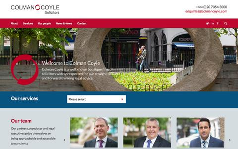 Screenshot of Home Page colmancoyle.com - Colman Coyle Solicitors - captured Sept. 27, 2015