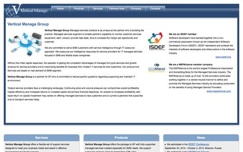 Screenshot of Home Page verticalmanage.com - Vertical Manage Group - Managed Services & Unified Communications - captured Oct. 9, 2014