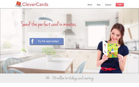 Screenshot of Home Page cleverbug.com - CleverCards | Send the perfect card in minutes - captured Sept. 13, 2014