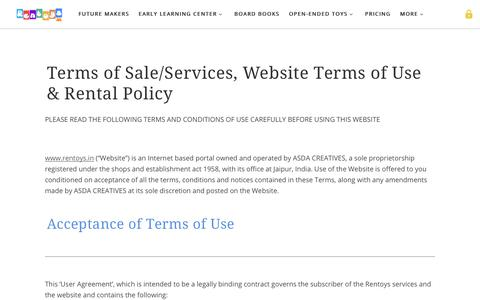 Screenshot of Terms Page rentoys.in - Terms of Use - Educational toys and books on rental subscription in India - captured Oct. 18, 2018