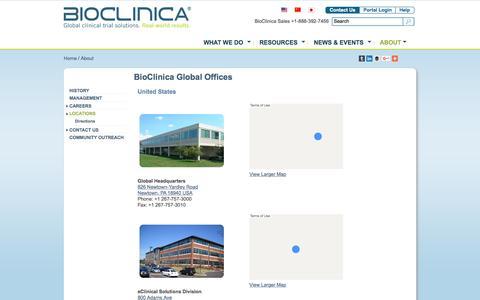 Screenshot of Locations Page bioclinica.com - BioClinica PA Offices and Other Office Locations - captured Nov. 14, 2015