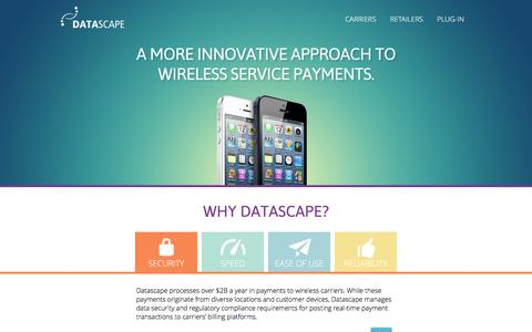 Screenshot of Home Page datascape.com - Datascape | Why Datascape? - captured Jan. 7, 2016