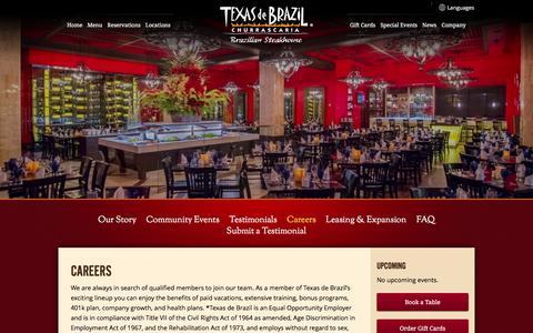Screenshot of Jobs Page texasdebrazil.com - Careers   Texas de Brazil - Brazilian Steakhouse - captured Jan. 17, 2016
