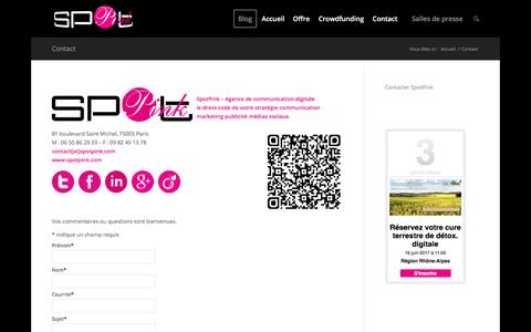 Screenshot of Contact Page spotpink.com - Contact | SpotPink - captured June 15, 2017